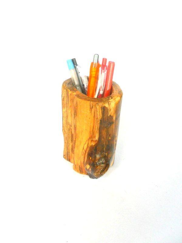 Rustic log pencil holder Natural Teak Wood