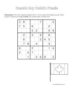 Canada Day sudoku puzzle with a picture of the Canadian flag. 4 levels of difficulty. Sudoku puzzle changes each time you visit