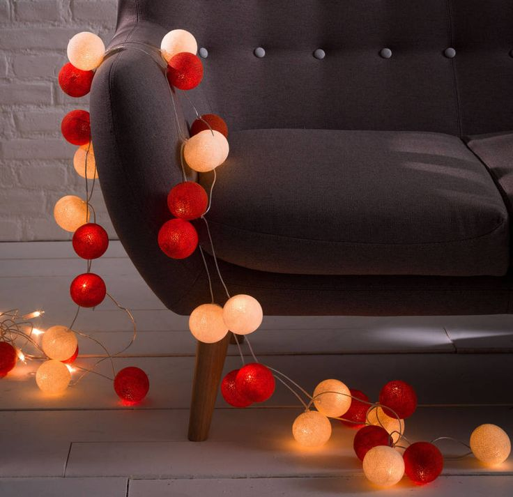 Cotton Ball String Lights - but in pink and green