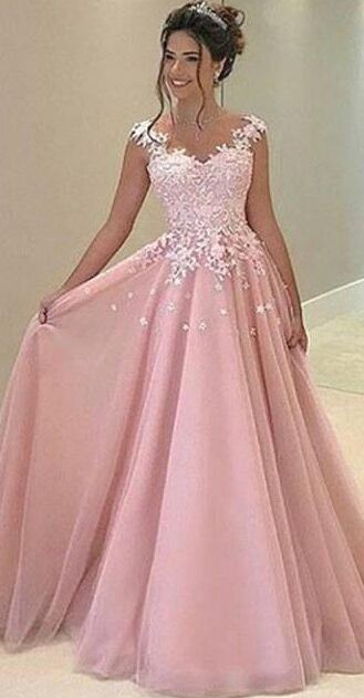 New Design Lace Pink Long Prom Dresses For Teens,Princess Prom Dresses,Disney Prom Dresses