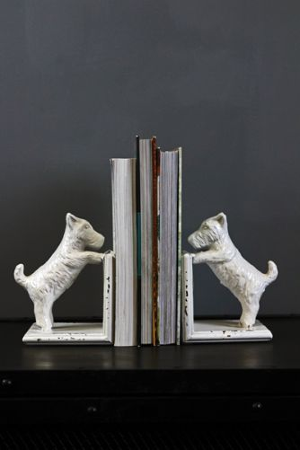 Set of 2 White Dog Bookends