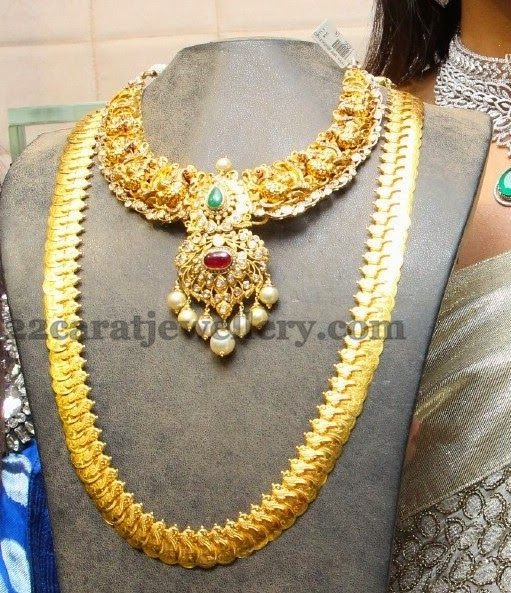 Jewellery Designs: Kasu Haar and Heavy Gold Set