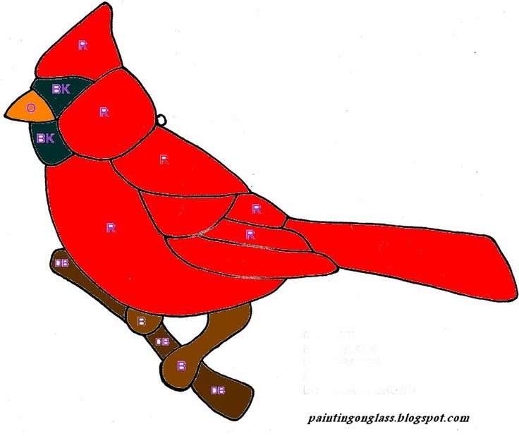 Free Cardinal Patterns | Stained Glass Cardinal Pattern ~ painting on glass