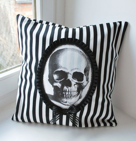 Skull victorian cameo pillow by Thebatinthehat on Etsy, $33.00