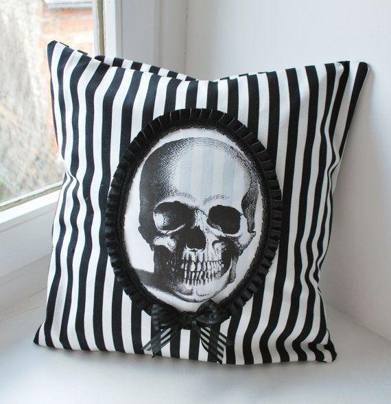 Striped skull pillow
