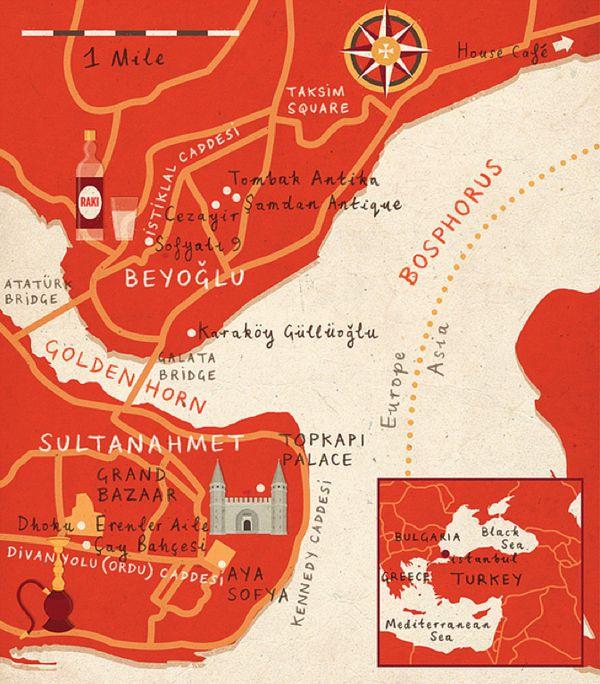 istanbul illustration map