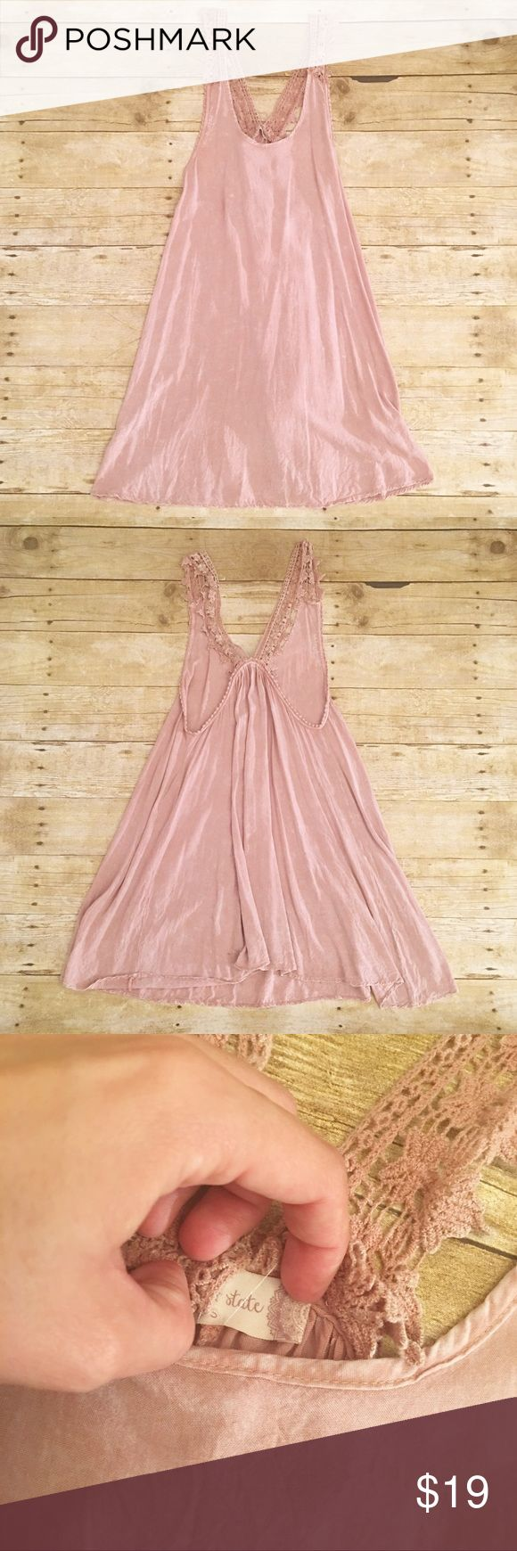 Pink/taupe Altar'd State crochet tank dress, small Very good used condition Altar'd State tank top dress in a size small. Almost a taupe/blush pink color. Warm taupe in the last photo. Very pretty! Also has a speckle look to it(factory distressed). No major issues that I see, just worn a good number of times. Total length- approximately 33.5 inches, bust- approximately 15 inches. A Altar'd State Dresses Midi