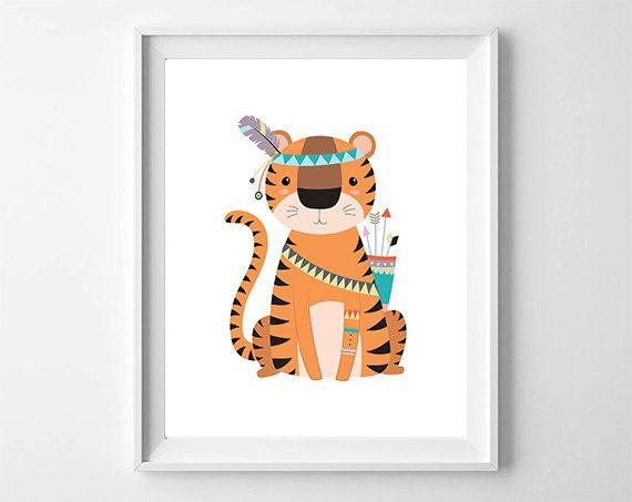 Baby tijger Tribal kwekerij kunst Jungle kinderkamer