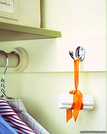 A bundle of chalk hung in a closet will absorb extra moisture and keep clothing fresh and dry, and takes up much less room than an electric dehumidifier. Read more at Marthastewart.com: Spring-Cleaning Rooms – Martha Stewart..
