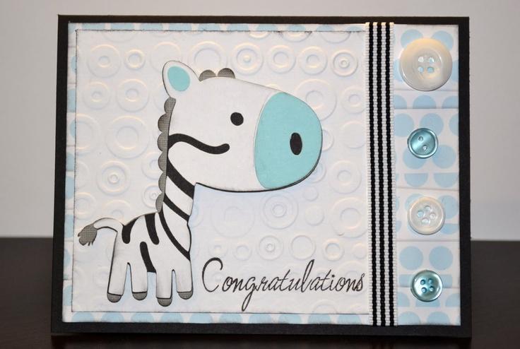 zebra baby boy card