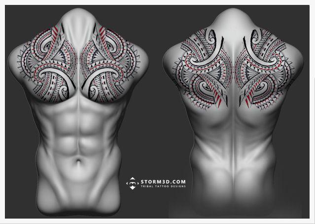 maori-full-backpiece chestpiece-tattoo-pecs-design-tatau-koru-flowing