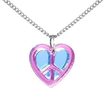 Handcrafted Pink Baby Blue Lucite Peace Sign Heart Necklace Body Candy. $11.99