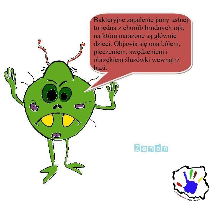 Do bakteryjnego zapalenia jamy ustnej dochodzi u dzieci głównie poprzez wkładanie do buzi brudnych rąk czy przedmiotów, na których znajdują się bakterie.