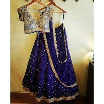 Poly Silk Lace Work Blue Semi Stitched Lehenga - S001