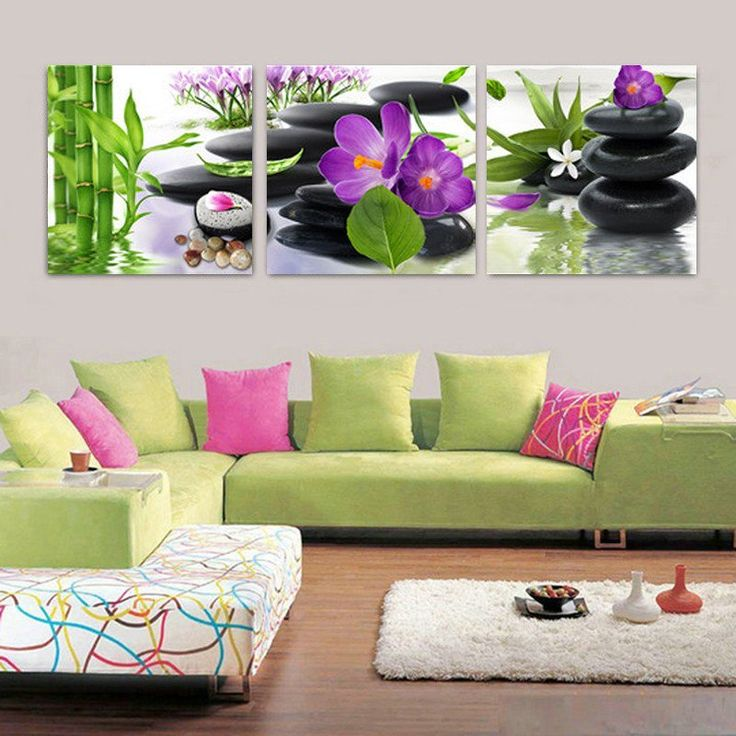 Bamboo Stone Flower Canvas Prints Painting Living Room Wall Art