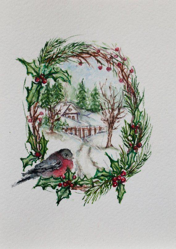 Handpainted Bird Christmas Cards Happy New Year Card Handmade