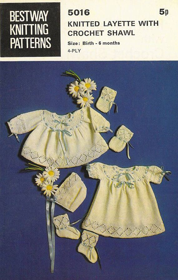 PDF Vintage Baby Knitting Patttern 1960s Pretty Heirloom Lacy