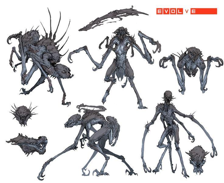"""[Stephen Oakley] Early concept art for the 5 Monster in Evolve """"Gorgon"""""""