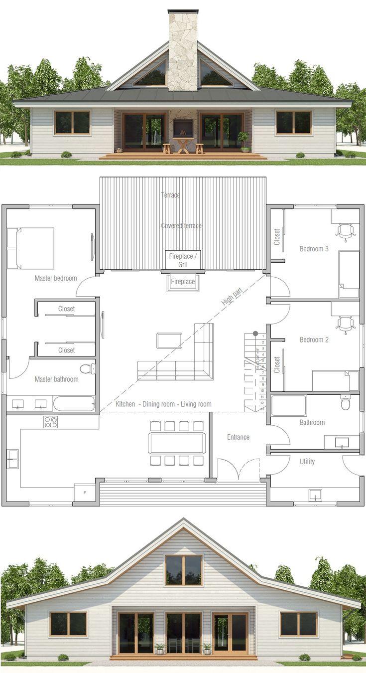 HOUSE PLAN CH497 ▪Net area: 1900 sq ft ▪Gross area: 2143 sq ft ▪Bedrooms 3 ▪Bathrooms 2 ▪Floors 1