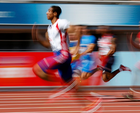 Picture desk live: Jimmy Vicaut runs during heats at the European Athletics Championships