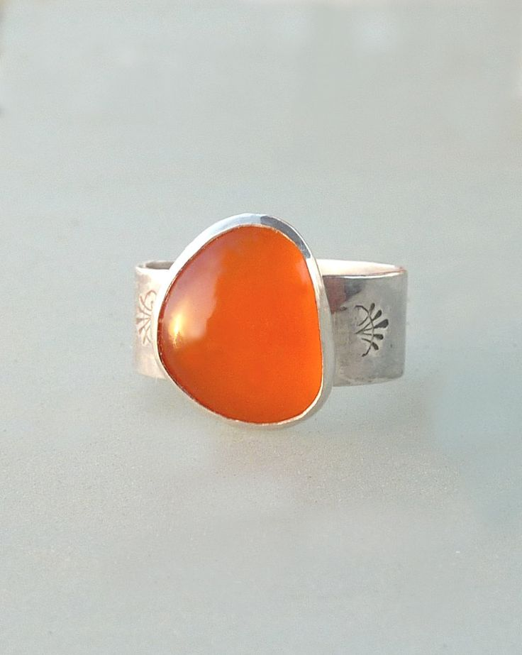 Orange Chalcedony ring, Artisan Ring, Gemstone Ring, Sterling silver Ring,cocktail ring. $108.00, via Etsy.