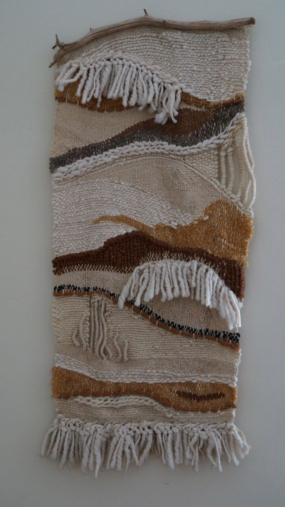 Amazing Weaving Neutral Beige & Cream Colors Natural Textile Wall Hanging 1970's Handmade on Etsy, Sold