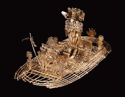 Balsa muisca (figura de ofrenda) Oro. 600 d.C. - 1600 d.C. Pasca, Cundinamarca 10,2 x 19,5 x 10,1 cm / Muisca raft (offering) Gold A.D. 600 - A.D. 1600 Pasca, Cundinamarca