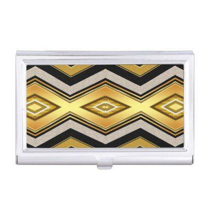 Black Gold Chevron Glam Business Card Case - pattern sample design template diy cyo customize