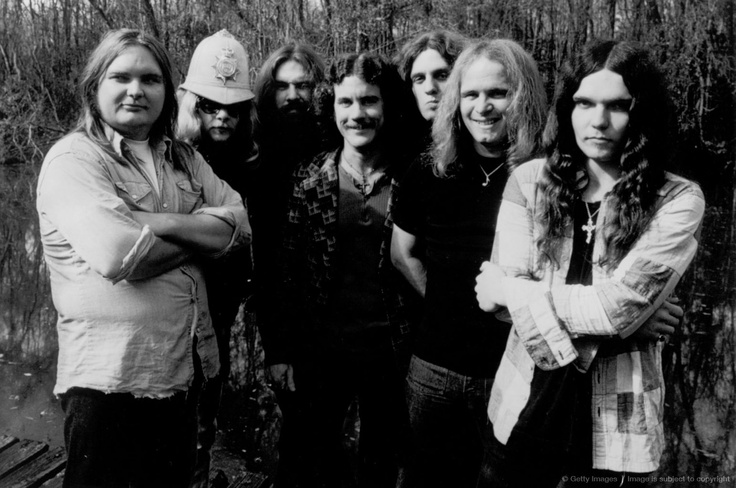 JANUARY 1975: Lynyrd Skynyrd (L-R Ed King, Leon Wilkeson, Artimus Pyle, Billy Powell, Allen Collins, Ronnie Van Zandt and Gary Rossington pose for a portrait in January 1975.