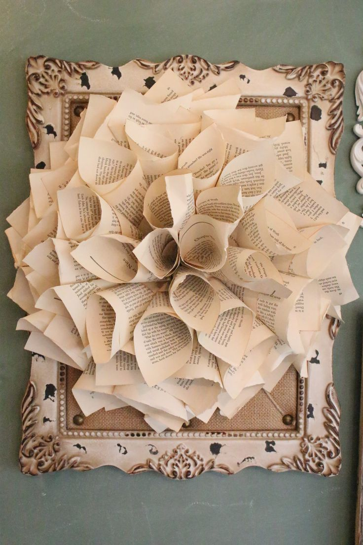 Book page flower- book pages- wreath made from book pages- book page projects- crafts/ DIY- There for the Making Challenge- how to make a book page flower- books- flowers