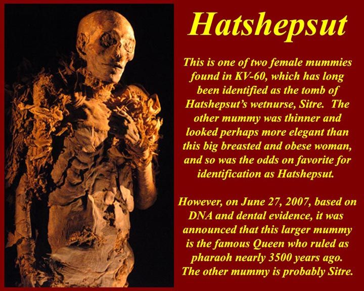 """Hatshepsut was the only queen to be enthroned as a """"king"""" not a queen. She  was known for dressing like a man and wearing a false beard. But when her rule ended, all traces of her mysteriously disappeared, including her mummy. Her rule of about 21 years ended in 1453 B.C. during which the Egyptian economy flourished and much construction of artistic architectural masterpieces, particularly her mortuary temple at el-Deir el-Bahary took place."""