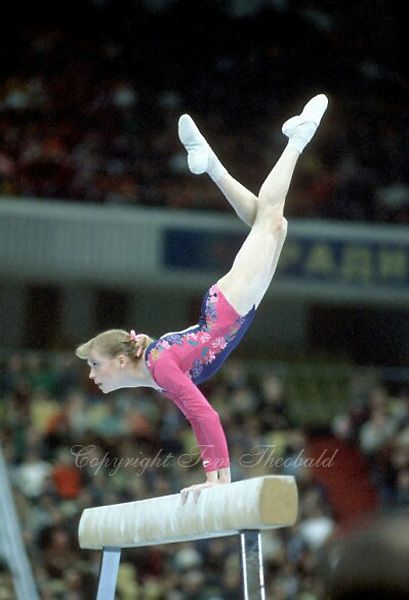 artistic gymnast julianne mcnamara of usa performs on balance beam at world in moscow ussr