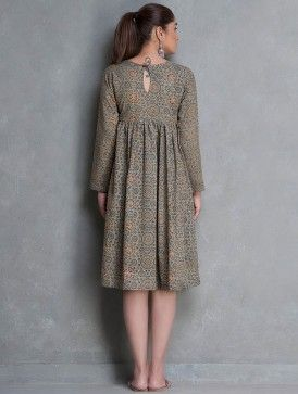 Grey-Indigo-Rust Ajrakh Printed Natural Dyed Pocket Detailed Cotton Dress by Poochki