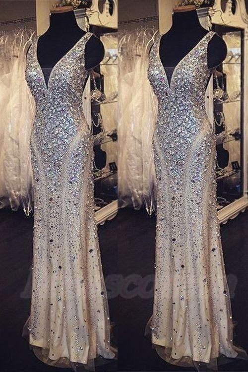 Gorgeous Beaded Crystals Mermaid Formal Evening Dresses V Neck Cap Sleeves Champagne Tulle Real Photos Prom Occasion Gowns For Pageant 2016 Formal Wear For Women Gowns Online From Whiteone, $189.58| Dhgate.Com