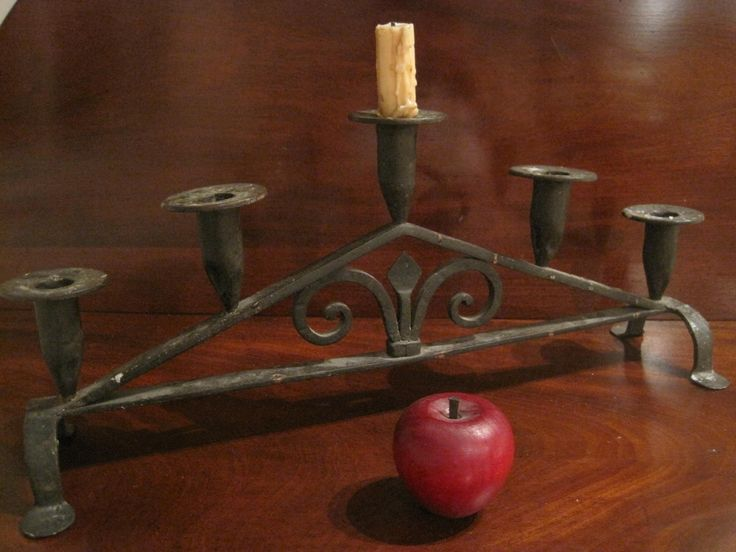 Antique 1700's Colonial Wrought Iron 5 Cup Candleabra Sold North Bayshore Antiques