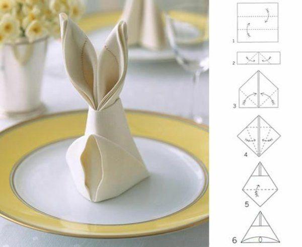 servietten falten anleitung tischdeko zu ostern