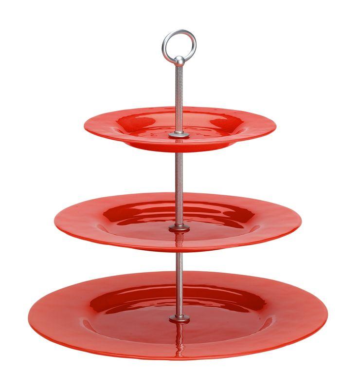 Red 3-level cakeplate JellyBean Sweden/ Rött 3-etagefat från JellyBean. #jellybeansweden, http://www.jellybean.se/produkter/etagefat/3-etagefat/3-level-cakeplate-red.html