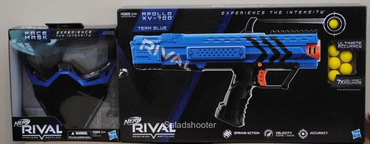 Blue  Nerf Rival Apollo XV 700 Blaster Safety Mask Shoots Soft Ball