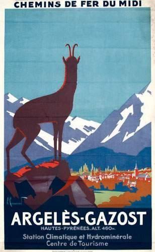 Chemins de Fer du Midi - Argelès-Gazost - Hautes-Pyrénées - Station climatique et hydrominérale - illustration de Commarmond -