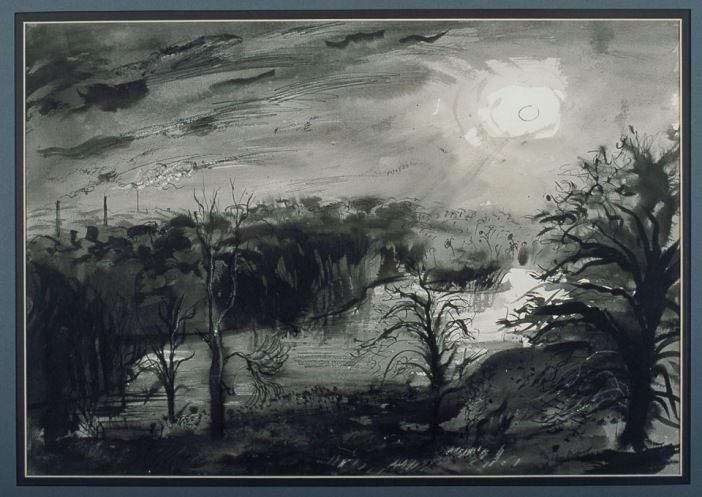"""The Moon Over the Lake Renishaw"" by John Piper, 1942 (ink and watercolour on paper)"