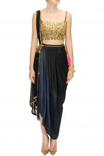 Papa Don't Preach - Black mirror embroidered choli with black ombre dyed wrap skirt and dupatta
