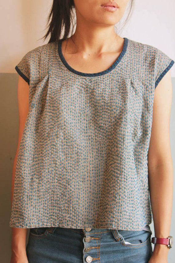 top with hand stitched pattern