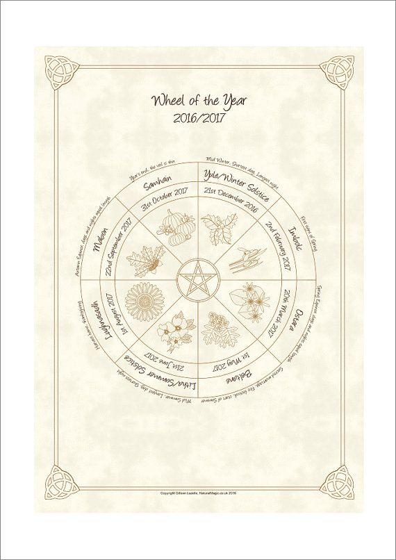 Wheel of the Year Pagan / Wiccan Sabbat Calendar 2017