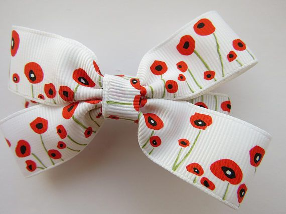 Left handed poppy print hair bow/left handed hair bow/hair bow