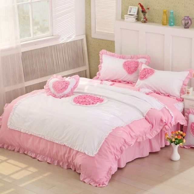 Find More   Information about pink QUEEN KING FULL size bedding sets rustic princess cotton bedskirt polka dots rose flower heart design duvet cover bedrug,High Quality  ,China   Suppliers, Cheap   from Queen King Bedding Set  on Aliexpress.com