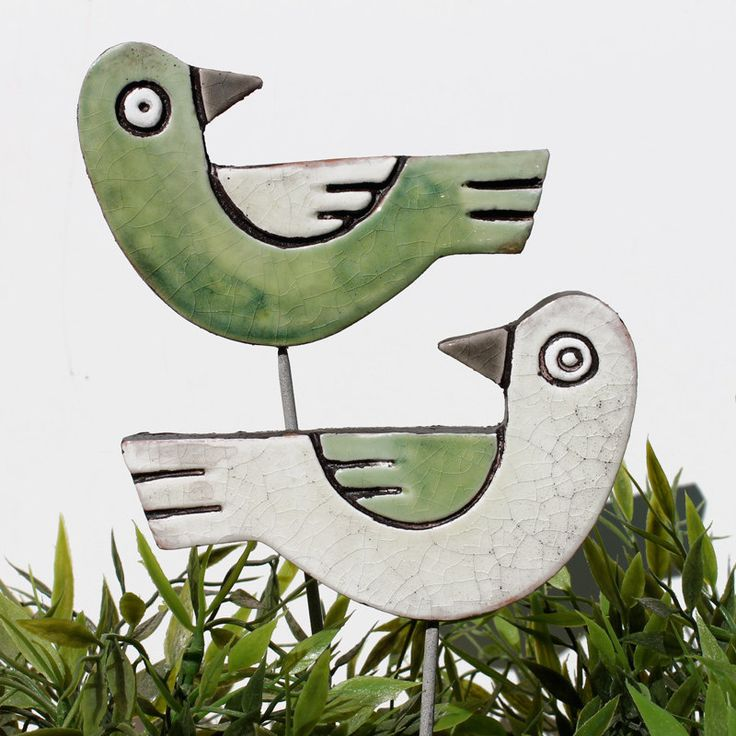 Image detail for -birds garden art - plant stake - garden decor - decoration - ceramic ...