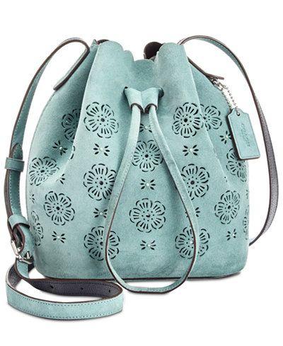 COACH Suede Mini Bucket Bag 16 with Cut Out Tea Rose  handbags  coach