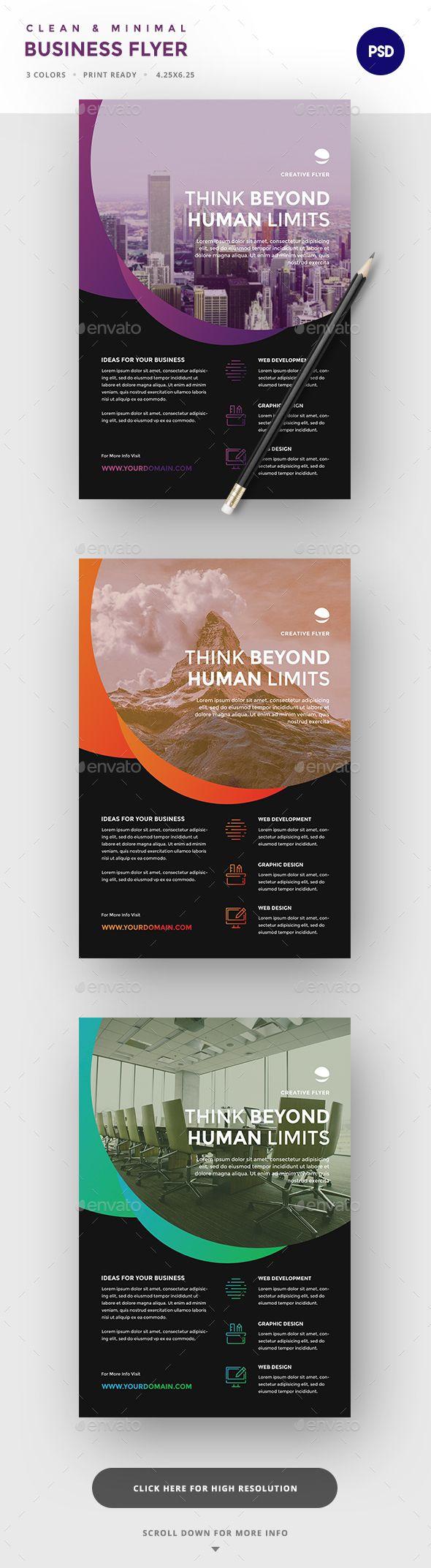 Business Flyer Design Template - Corporate Flyers Design Template PSD. Download here: https://graphicriver.net/item/business-flyer/19357261?ref=yinkira