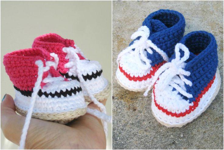 Crochet pattern baby booties - Sneakers for boys and girls - pdf pattern - Crochet Baby Shoe Pattern - Baby sneakers - Baby booties - pinned by pin4etsy.com