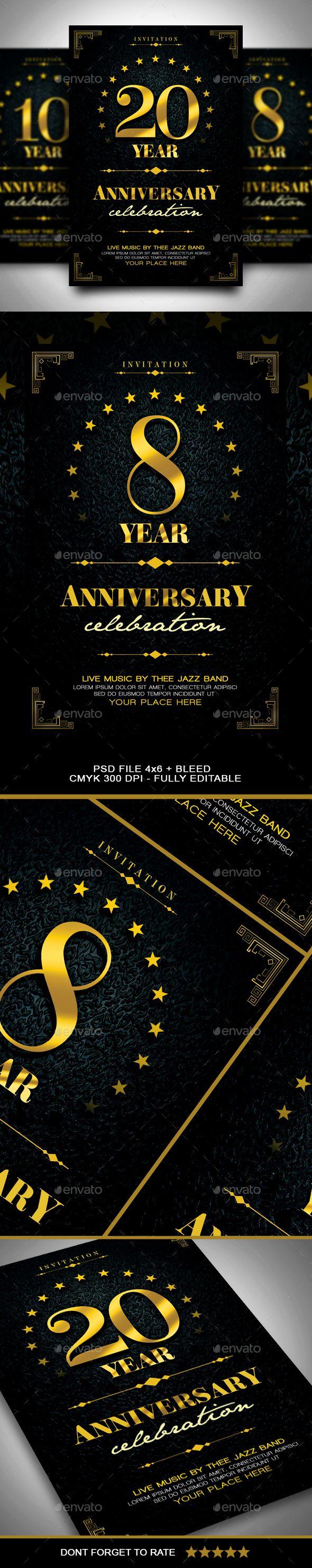 #Anniversary #Invitation - Anniversary Greeting Cards Download here: https://graphicriver.net/item/anniversary-invitation/19805776?ref=classicdesignp